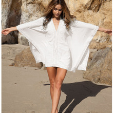 Sexy Swimwear Tunic Bikini Lace loose blouse sun shirt hollow lace V-neck beach cover up sunscreen swimsuit cover up cotton