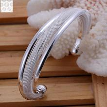 B019 Free Shipping! SGS Test Past Latest Trendy Classic 925 Stamped silver plated jewelry Hot sell Bangle Wholesale Price(China)