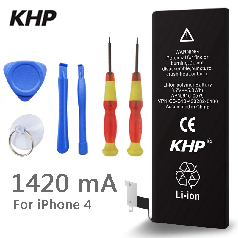 2017 New 100% Original KHP Phone Battery For iphone 4 Real Capacity 1420mAh With Machine Tools Kit Mobile Batteries 0 cycle(China)
