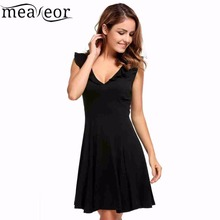 Buy Meaneor Sexy Backless Dress Solid Ruffles Summer Dress Women Summer V-Neck Beach Dresses Sleeveless Short Pleated Dress Vestidos for $12.60 in AliExpress store