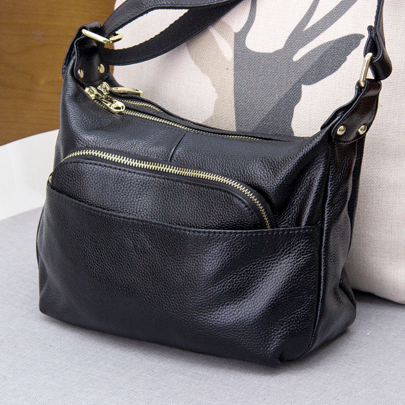 Hot sale 2017 New simple multi head layer genuine leather sandwich single shoulder bag female leather zipper bag #L146(China (Mainland))