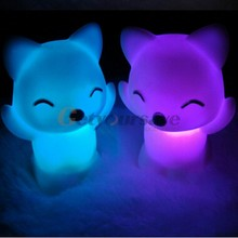 Hot 7 Changing Colors Lovely Fox Shape LED Night Light Decoration Candle Lamp Nightlight Nice Children Kid Gift White