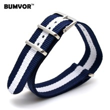 Popular Cambo Watch 16 mm Army Navy White Military nato fabric Woven Nylon watchband Strap Band Buckle belt 16mm accessories(China)