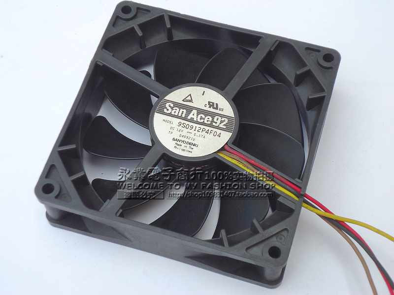 Sanyo 9S0912P4F04 DC 12V 0.17A 4-wire 4-pin connector 92x92x25mm Server Square fan<br>