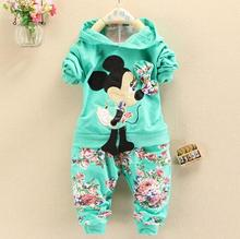 Toddler Girl Clothing Velvet Suits 2017 Spring Baby Girls Clothes Set Long Sleeve Hoodies+Flower Pants Kids Clothes Children