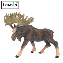 Lamwin Free Shipping Solid Toy Animal Figurines Moose Action Model Deer Modeling For Children Play Gift