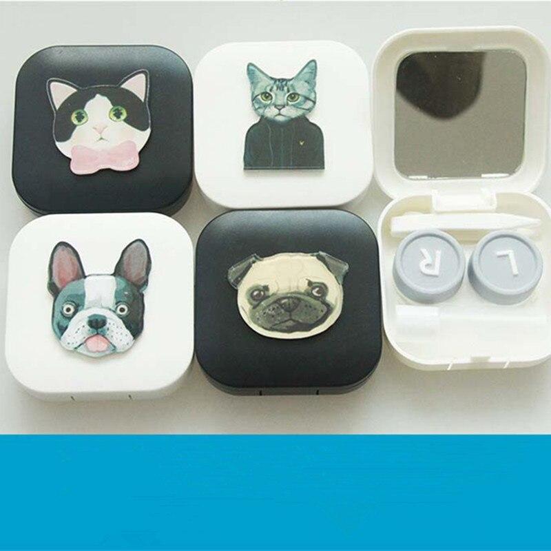 LIUSVENTINA DIY acrylic cute portable dog lovely cat contact lens case eyes contact lenses box glasses