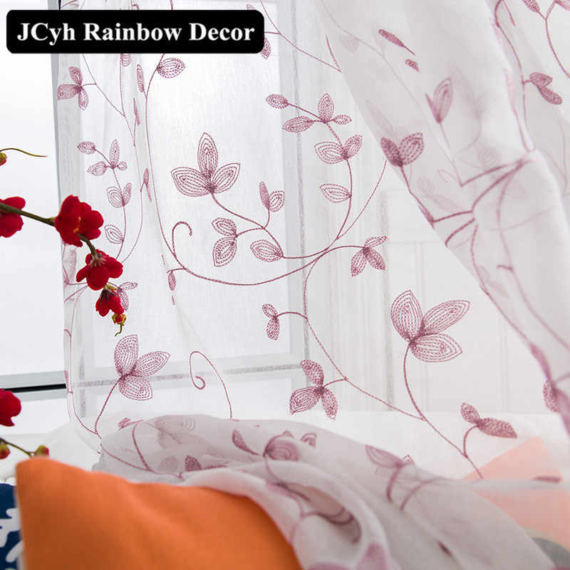 Japan Style Leaf Blinds Tulle Window Curtains For Bedroom Kitchen Rideaux Rattan Embroidered Voile Drapes For Living Room White