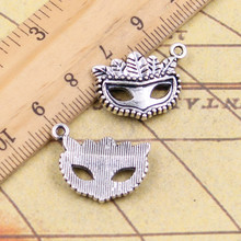 10pcs Charms party mask masquerade mardi gras 19*20mm Tibetan Silver Plated Pendants Antique Jewelry Making DIY Handmade Craft(China)