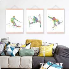 Modern Watercolor Abstract Sports Man Skiing Wooden Framed Canvas Painting Home Decor Wall Art Print Pictures Poster Scroll