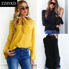 Buy ZZSYKD 2018 New Women Shirt Blusa Feminina White Chiffon Blouse Long Sleeve Blouse Womens Tops Blouses SEXY Women's Clothing for $6.42 in AliExpress store