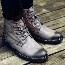 New Autumn Winter Fashion Men Martin Boots With Plush Vintage Brush Shoe Toe Square Heel High Top Lace Up Man Motorcycle Boots