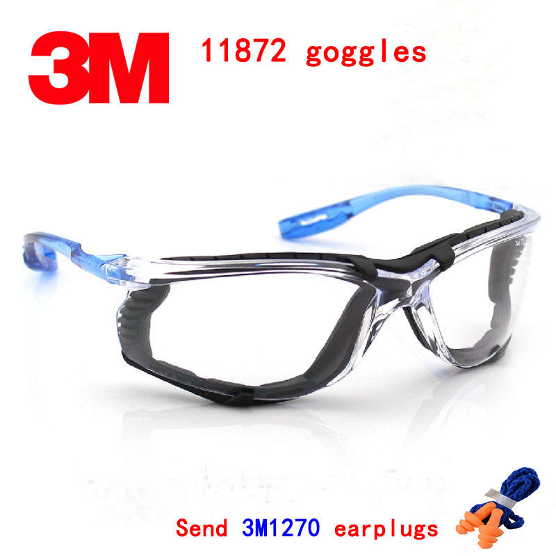 3M 11872 goggles Genuine security 3M protection glasses Comfortable Foam Frame Wearable earplugs safety goggles<br>