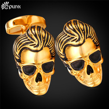 Punk Rock Skeleton Cufflinks For Men With Gift Box Gold color Wholesale Jewelry Skull Head Cuff Button C2022G(China)