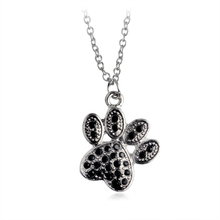 Tiny Heart Dog Paw Pendants Necklace For Women Men Black Rhinestone Crystal Fashion Charms Animal Pet Jewelry Wholesale Gifts