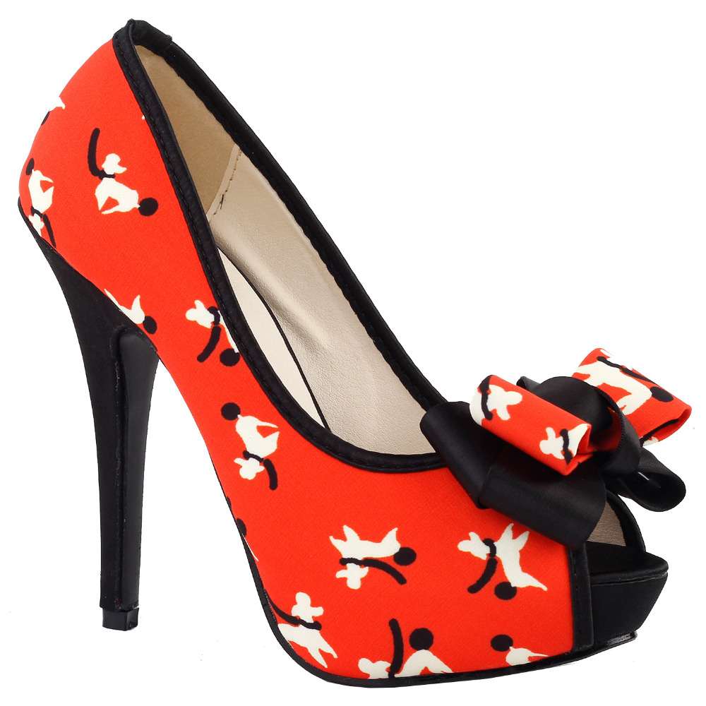 LF30475 Cute Puppy Pattern Bow Peeptoe Platform Stiletto Pump Shoes Size 4/5/6/7/8/9/10<br>