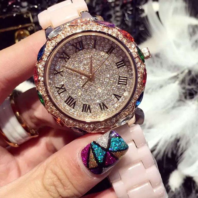 Luxury Quartz Fashion Crystal Women Watch Colorful Diamond Ceramic Dress Rhinestone   WristWatches Female Gift  Relogio Feminino<br><br>Aliexpress