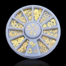 New 3D Gold Metal Christmas Nail Art Decoration Slice Stickers Decal Foil Wheel