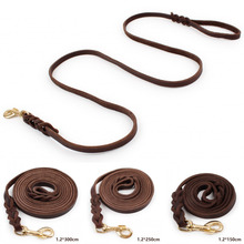 Hum&Cheer Braided Soft Leather Dog Leads Leash for Walking Training 4 Szs Brown
