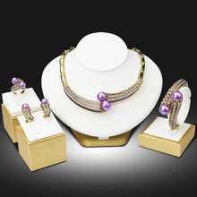 Wedding African Beads Jewelry Sets Purple Pearl Gold Women 2016 New Design Necklace Earrings Bracelet Ring Free Gift Box