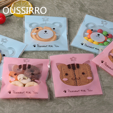 10PCS Cute Teddy Bear Cat Cookies Packaging Bags OPP Self-styled Food Cookie Gift Bag Sweet Wedding Birthday Candy Party Favors