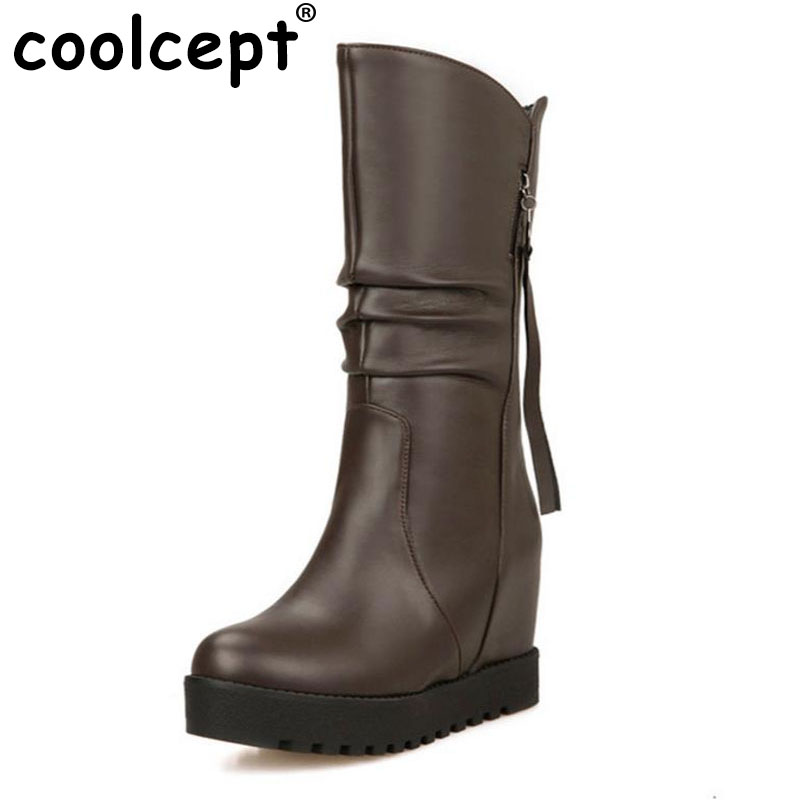 Coolcept size 30-52 women wedge half short  boots winter warm platform boot round toe footwear riding sexy heels shoes P21141<br>