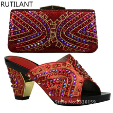 Latest Shoes and Bag Set African Sets Red Color Shoes and Bag Set African Sets 2017 Sales In Women Matching Shoes and Bag Sets
