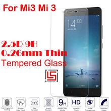 Cheap Explosion Proof 0.26mm 2.5D 9H Tempered Glass Cristal Verre Phone Front Film Screen Protector For Xiaomi Xiami Mi3 Mi 3