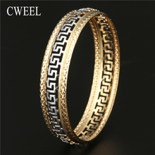 CWEEL Charm Bracelets for Women luxury Brand Gold Silver Color Hollow Holiday Beach Party Bangle Bracelet Jewelry Indian Bangles(China)