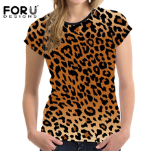 FORUDESIGNS Novelty Leopard Printed Women T Shirt Bodybuilding Short Sleeved Ladies Elastic Top Tees Fashion T-shirt Camisetas(China)