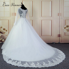 C.V Arab Long Sleeve Boat Neck Beaded Wedding Dress Court Train Illusion Sheer neck Plus size Bridal Gown China W0211