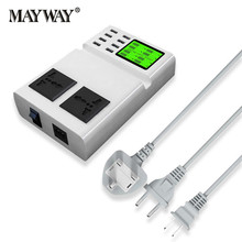 Fast Charging USB Charger Power Travel Adapter Strip Switch LED Display Screen with 8 USB Socket Ports For US UK EU Plug Sockets