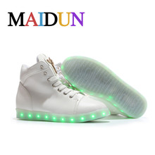 led high top shoes woman ligh up Glowing casual neon shoes women flat with lace unisex hot fashion neon basket Glowing shoes