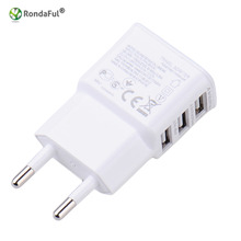 EU Plug 5V 2A 3 Ports Travel Wall Charger Adapter Mobile Phone USB Adapter For iPhone 5 5s 6 6s iPad/Samsung Galaxy S5 S6/Tab(China)