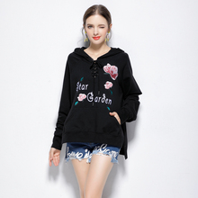 100% High Quality Sweatshirts 2017 autumn New Women Character Embroidery Fake Two Pieces Long Sleeve Loose Pullovers Hoodie(China)