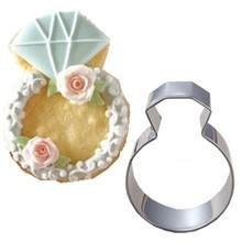Hot 1PCS Lady Wedding Party Diamond Ring Cookie Mold Stainless Steel Kitchen Accessories Baking Tools Cookie Cutter A146