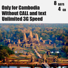 Cambodia Sim Card 8 Days Plan 4 GB Data 4G Speed Without Call Mobile Phone Card 3 IN 1 Travel Sim Card Only for Cambodia(China)
