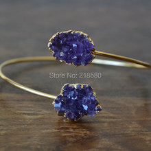 H-DB08 Double Crteated Druzy Cluster Stone Arm Wrap Bangle,Upper Arm Cuff