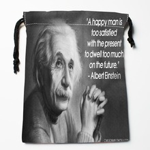 New Arrival Scientist Albert Einstein Drawstring Bags Custom Storage Printed Receive Bag Type Bags Storage Bags Size 18X22cm(China)