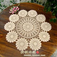 2015 new arrival cotton tablecloth with flower crochet round table cloth cutout knitted table runner table mat table cover