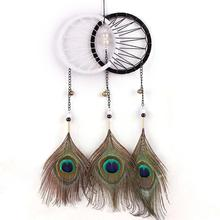 Artistic New fashion Gift Big Dreamcatcher Peacock Feather Wind Chimes Indian Style  Pendant Dream Catcher Vintage Home Decor