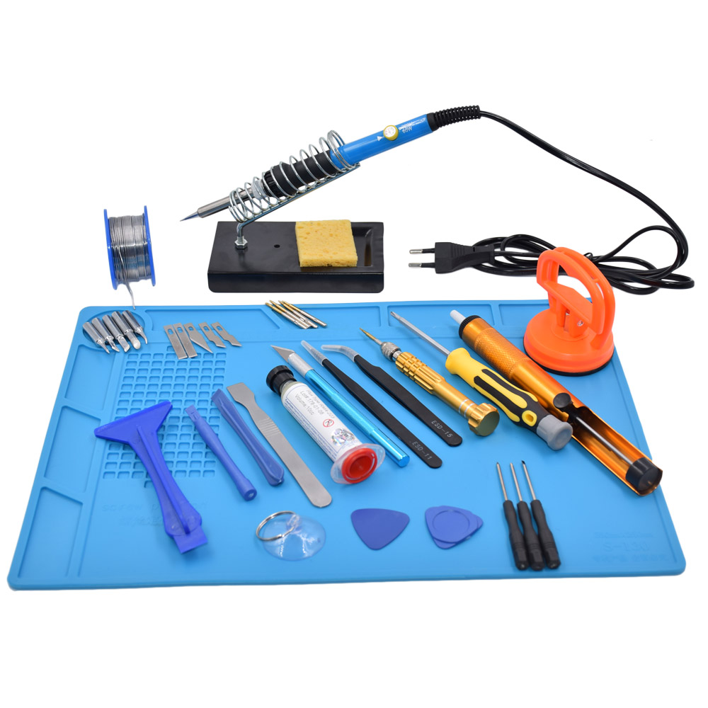 Cell Mobile Phone Repair Tools Solder Soldering Iron Screwdriver Plier Pry Disassemble Tools set Kit For iPhone For Samsung<br>