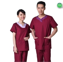 Surgical Clothing High Quality 100% Cotton Doctor Scrub Sets Short Sleeve Hospital Work Wear Women and Men Labor Coat Sets(China)
