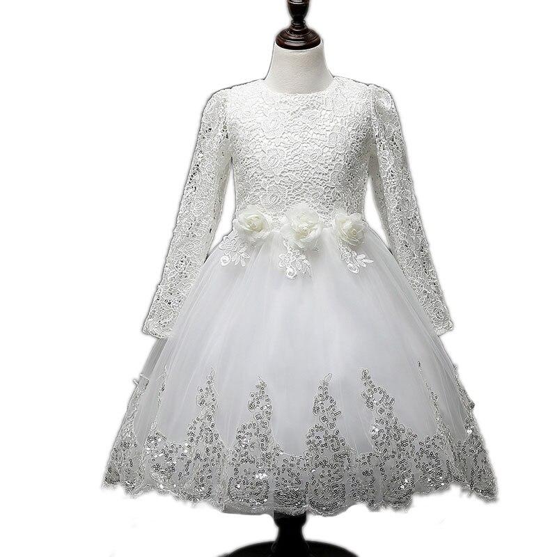 Girls Flower Petals Dress white girl Children Bridesmaid Toddler Elegant Dress Pageant Wedding Bridal Tulle Formal Party Dress<br>