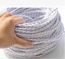 Free shipping to Russia 100meters braided fabric wire DIY lighting vintage edison lamps cloth coated PV 2 cores cable