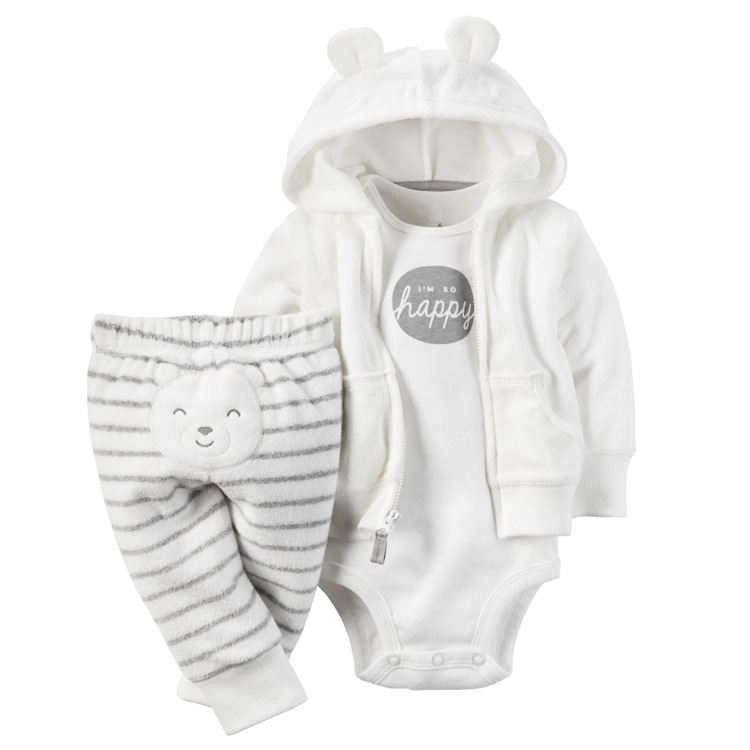 3pcs Casual Newborn Baby Girl Clothes White Bodysuit Pants Cute Bear Cardigan Wear Suit Infant Costume Children Clothing Autumn<br><br>Aliexpress