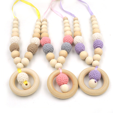 3pcs color pastel color  crochet beads wooden nursing necklace customized baby toy Mummy and baby teething necklace EN59