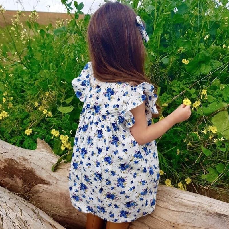 Mother nest 2018 Summer New Girls Flower Puff Sleeves Dress Cotton Children Kids Clothes Toddler Baby Birthday Kids Dresses (4)