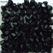 Isywaka Sale black colors 200PCS 4mm Bicone Austria Crystal Beads charm Glass Beads Loose Spacer Bead for DIY Jewelry Making
