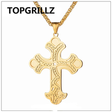 TOPGRILLZ Hip Hop Stainless Steel Gold Color Plated Cross Pendant Necklace Personality Trend Men Women Fashion Jewelry